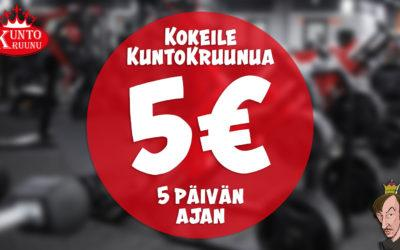 Kokeile 5 päivää 5€:lla!